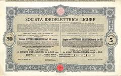IDROELETTRICA LIGURE SOC. (scripofilia) Tags: 1911 idroelettrica idroelettricaligure ligure obbligazioni