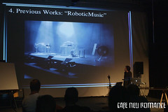 Suguru Goto (JPN): My robot works for music and performance (Vive Les Robots!) Tags: prague praha cafeneuromance robot performance festival iim instituteofintermedia czechtechnicaluniversity ctu eskvysokuentechnickvpraze vut fakultaelektrotechnick fel institutintermdi sugurugoto lecture music mediaart inventor performer japan art manmachine