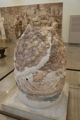 The marble Omphalos - the centre of the world - in LAtin, the Umbilicum.
