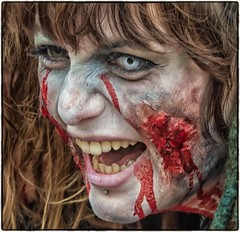 Colour Match Zombie (Andy J Newman) Tags: colorefex d500 candid street portrait zombie walk bristol nikon blood bite gore