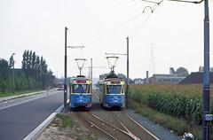 Once upon a time - Belgium - Gent Wondelgem (railasia) Tags: belgium flanders gent gand wondelgem mivg routenº1 motorcar pcc bidirectional overtake infra singletrack passingloop eighties