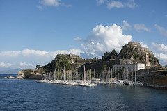 Fortress Harbour (ORIONSM) Tags: corfu greece fortress harbor boats yachts sea clouds blue sky sony rx100mk3