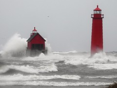 Wicked Lake (John Rothwell) Tags: grandhaven michigan gale waves november winter fall cold nasty windy lakemichigan lake lighthouse pier