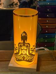 Yoga themed lantern by Janie Struif, Innerlight Lamps (marketkim) Tags: holidaymarket comfort product soeug eugene oregon saturdaymarket festival artfair eugenesaturdaymarket artfestival