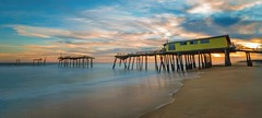 Frisco Pier Sunset (APGougePhotography) Tags: frisco pier outerbanks obx outer banks hatteras island ocean longexposure le nikon nik nikond800 d800 north carolina northcarolina adobe adobelightroom lightroom clouds water beach sunset color