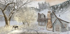 christmas time in sugartown (flubs) Tags: winter snow sl secondlife slphotography outdoor nature landscape dreamy flickr firestrom cottage trees