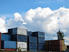 Cargo by the Docks (Angry_Lemons) Tags: shipyard industrial cargo sky clouds city crates montreal cityscape urban canada quebec