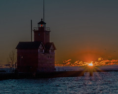 Big Red at Sunset (leeandtacky) Tags: boatsandlighthouses sunset michigan sonyalpha sonyslt58