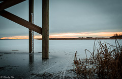 Icy Sunset (Wendy Oor) Tags: water lake pond sunset winter ice frozen pier outdoors