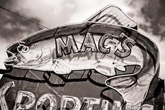 Mac's, Plate 2 (Thomas Hawk) Tags: bishop california inyocounty macssportinggoods usa unitedstates unitedstatesofamerica bw fish neon sportinggoods fav10 fav25