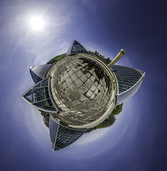 Planet Muttart (Kurayba) Tags: roof sky panorama sun canada glass skyline river downtown edmonton little pentax north 360 conservatory fisheye projection greenhouse alberta valley da planet pyramids saskatchewan degree 1017 muttart k5 stereographic ptgui smcpdafisheye1017mmf3545edif