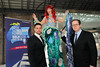 From left:Keith Duffy, Chantel the Mermaid, and Eoin Healy (Irish Indo) pictured at the launch of The Tall Ship Races 2012