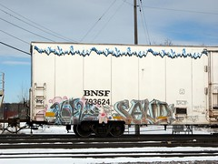 Dose45 Saud (Youra Dick) Tags: winter train graffiti stock icicle boxcar freight bnsf rolling reefer mainline