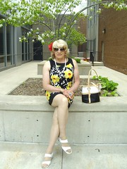 Girl in the City (Laurette Victoria) Tags: sunglasses wisconsin pose outside outdoors dress legs purse milwaukee blonde laurette laurettevictoria