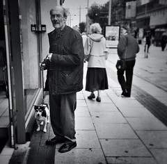 'One Man And His Dog' (Paul J Rose) Tags: street portrait england bw dog apple mobile photography mono photo blackwhite image unitedkingdom 5 candid gb middlesbrough 4s iphone ipad iphoneography hipstamatic blackkeyssupergrainfilm filterstormpro snapseed janelens uploaded:by=flickrmobile flickriosapp:filter=nofilter