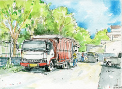 truck (omGun) Tags: truck lorry smallbook kiw urbansketches