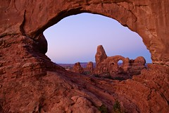 Turret Arch - Arches National Park (ernogy) Tags: park red usa southwest nature sunrise outdoors landscapes utah ut scenery desert plateau arches national coloradoriver canyonlands western moab bluehour archesnationalpark mesa turretarch ernogy
