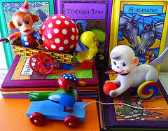 Some of my favorite toys (DollyBeMine) Tags: wood old bird metal vintage ball easter wagon toys tin monkey wooden duck colorful circus clown books rubber chick collection litho polkadot pulltoy