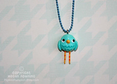 Bobby Blue Bird (Pig & Pumpkin) Tags: blue sculpture cute bird necklace handmade originalart charm bluebird paperclay airdryclay megandowning