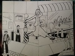 Escaping the 40s WIP (thatpartwhereiart) Tags: art pen ink 1940s 40s escaping