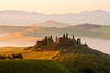 Belvedere (Thierry Hennet) Tags: morning summer italy orange sunlight house mist green fog architecture sunrise landscape italia farm sony scenic sunny landmark hills vineyards tuscany cypress toscana valdorcia clearsky ocre sanquiricodorcia a900 highangleview sony70200mmf28g