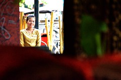 Pub Street Smile (Pedestrian Photographer) Tags: street wood woman girl smile smiling june st female gold restaurant golden pub uniform asia cambodia cambodian khmer bamboo siem reap hostess southeast waitress nametag sr gld asias 2013 dsc8826jpg dsc8826