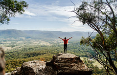 breathing (danielle kiemel) Tags: autumn friends portrait people mountains tourism girl youth landscape freedom travels flickr solitude photographer hiking exploring small joy young may australia roadtrips bluemountains cliffs renee bushwalking lensflare nsw newsouthwales youngwoman sunflare ontopoftheworld mountvictoria 2013 coxsroad mountyork daniellekiemel nikond5000 visitnsw onbeingsmall coxsdescent coxspass coxspasswalk