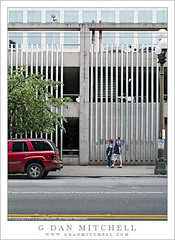 Blue Shirt Pedestrians, Linear Landscape (G Dan Mitchell) Tags: seattle street blue windows red people woman usa man building tree lines car yellow vertical horizontal architecture america truck print concrete washington traffic state garage parking north stock cement line shirts license pedestrians linear lanes