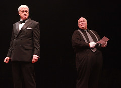 Tom Hewitt (Billy Flynn) and Ric Stoneback (Amos Hart) in Chicago produced by Music Circus at the Wells Fargo Pavilion August 20-29, 2013. Photo by Charr Crail.