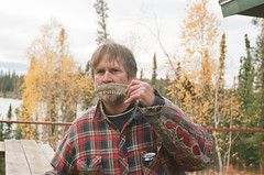 dad (RelicKnife) Tags: autumn portrait lake fall film nature water 35mm cabin dad teeth northwestterritories