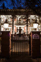 The Gate (Daveography.ca) Tags: light house brick heritage home lamp yard lights edmonton post pillar columns alberta historical column bluehour mansion pillars magrath adaboulevard adablvd magrathmansion