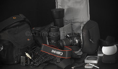 My traveling gear (© Ahmed rabie) Tags: travel canon eos sigma gear backpack 1855mm filters 70300mm tamron lenses lowepro 300mmmacro 430ex 1100d dustwand