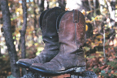 Boots (haleyrichardson) Tags: old southwest fall leather vintage outdoors clothing woods cowboy shoes boots south tribal western cowgirl muddy dirtyshoes ragged cowboyboots beatdown workboots cowgirlboots dirtyboots westernboots wornin
