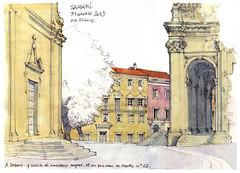 Sassari (gerard michel) Tags: sardegna italy sketch italia aquarelle cathédrale watercolour sassari croquis