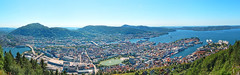 Bergen from the top (Charn High ISO Low IQ) Tags: ocean summer panorama mountain norway landscape cityscape aerialview bergen scandinavia floyen hugin canon6d