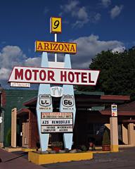 Arizona Motor Hotel Sign on Route 66 in Williams, Arizona (eoscatchlight) Tags: arizona sign route66 williams motel roadsideamerica yesteryear fadingamerica ofdaysgoneby