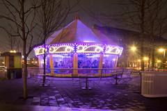 Greenway Carousel at Night (Eric Kilby) Tags: wet rain boston night lights purple massachusetts carousel greenway
