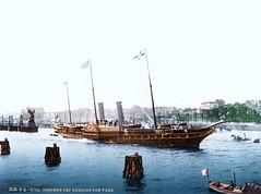 The Osborne at Kiel (sjrankin) Tags: water ship yacht edited library historic libraryofcongress handcolored steamer kiel osborne 1905 royalyacht 1895 photochrom detroitpublishingcompany photochrome detroitphotographiccompany detroitphotographycompany 18december2013