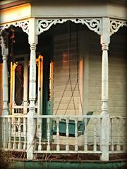 Pergola and Porch Swing at Sunset:  Lewiston-Woodville, Bertie County, North Carolina (EdgecombePlanter) Tags: sunset shadow sun architecture nc victorian gingerbread peaceful northcarolina fancy ornate porchswing