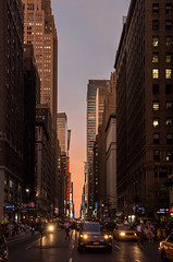 jaywalkers in the gap (grapfapan) Tags: street city nyc people urban cars skyscraper traffic dusk manhattan midtown metropolis flickrandroidapp:filter=none sunsetländernewyorkcityusa