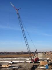 Link Belt Lattice Crawler Crane (RyanP77) Tags: bridge sunrise belt construction crane overpass boom link lattice