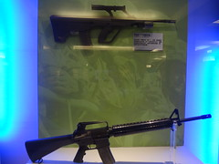 Steyr AUG bullpup rifle and M16A2 assault rifle (gunman47) Tags: china museum army gun republic force military air rifle navy taiwan assault weapon taipei aug   tw weapons forces m16 firearm firearms armed steyr   m16a2 bullpup