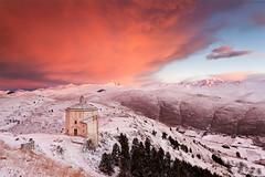 The Lonely Church (Corsaro078) Tags: mountain snow church sunrise landscape alba chiesa neve montagna paesaggio abruzzo gransasso calascio