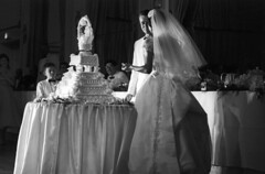 083659 15 (nick dewolf photo archive / s. lundeen, archivist) Tags: bridge people blackandwhite bw woman man men film cake musicians guests 35mm groom blackwhite women veil dress stage weddingcake nick band august tuxedo ballroom 1950s orchestra gown weddingdress weddingreception 1959 unidentified formalattire dewolf bridalgown weddingguests cuttingthecake whitetuxedo cuttingtheweddingcake nickdewolf photographbynickdewolf kenreeves locationunidentified kenreevesorchestra