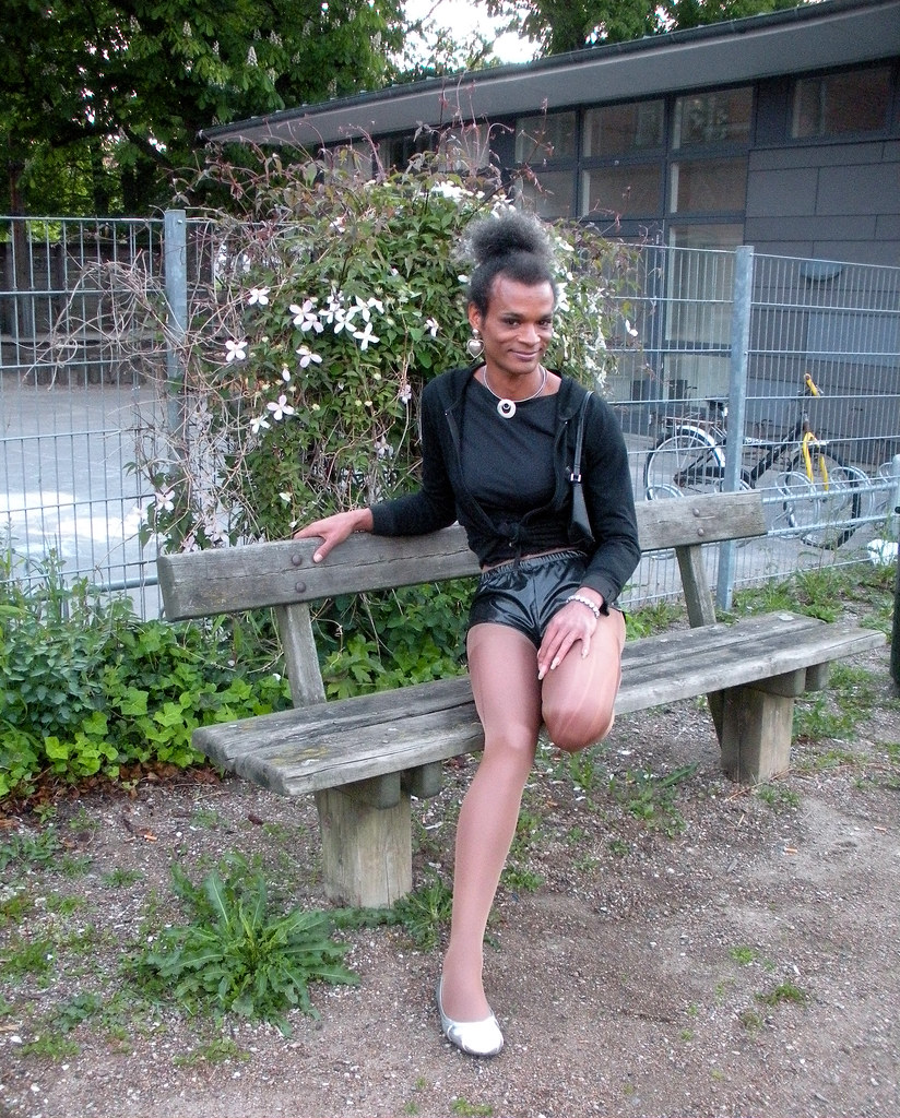 Man transvestite in pantyhose lingerie of sou