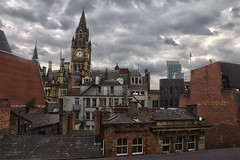 Manchester rooftops & townhall (0-1-6-1) Tags: summer england rain manchester grey skies moody rooftops clocktower townhall hdr manchestercitycentre