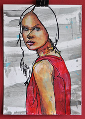 Lady in Red (id-iom) Tags: uk chris red urban art girl face lady graffiti eyes paint head song arts acrylicpaint idiom paintmarker aerosolpaint deburgh