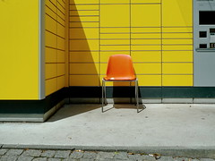 Please ta a seat #183 (sterreich_ungern) Tags: urban orange berlin abandoned yellow wall facade vintage germany chair pavement seat plastic concept stuhl pflaster fragment sammlung sereis