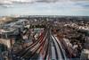 east from aqua (n.a.) Tags: london thames train londonbridge river tracks southeast canarywharf shard riverthames eastlondon