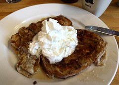 French toast with maple syrup and whipped cream (Ruth and Dave) Tags: frenchtoast eggybread whippedcream maplesyrup breakfast homemade plate dish cream sweet bread egg
